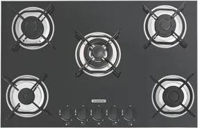 Cooktop a Gás Tramontina Brasil 5 Queimadores Vidro Preto Bivolt 70 x 45 cm Tripla Chama