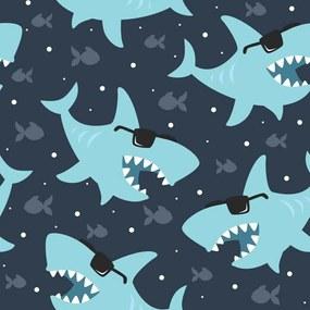 Papel de Parede Tubarões Óculos Navy