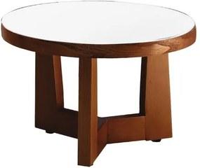 Mesa de Centro de Madeira Imbuia com Tampo de Vidro Branco 45cm Litt