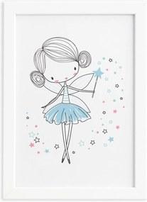 Quadro para Quarto de Menina Fada Azul Moldura Branca 22x32
