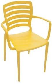 Cadeira Sofia com braços encosto horizontal amarela Tramontina