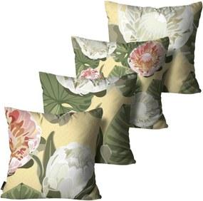 Kit com 4 Almofadas Mdecore Floral Coloridas 45x45cm