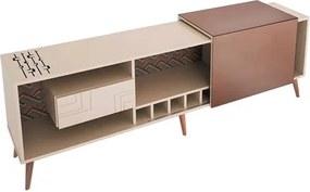 Buffet Nero 210cm com Espelho Bronze e Pés Palitos Fundo Impresso