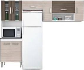 Cozinha Compacta Manuela 08 Portas Amêndoa/Capuccino - Poquema