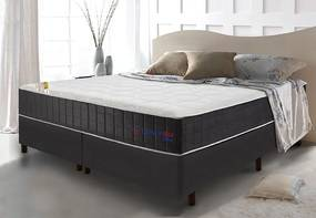 Conjunto Cama Box King Com Molas Ensacadas Cama Inbox Cloud Cinza 193x203x67