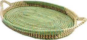 Bandeja Pequena em Rattan com Detalhes Verde 8 cm x 57 cm x 33 cm