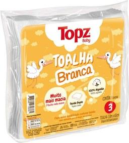 Toalha Fralda Topz Cremer 3 Pçs Branco