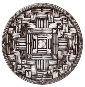 Jogo Sousplat De Plástico Wood Marrom 6 Peças 36cm 30438 Bon Gourmet