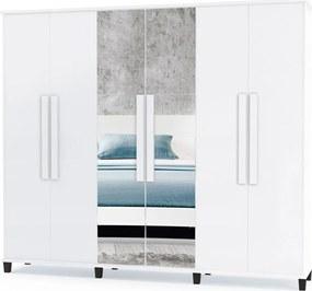 Guarda-Roupa Canadá 6 portas com espelho e 4 gavetas RV Móveis Branco
