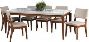 Conjunto de Mesa Lauren com 8 Cadeiras Ella 2.1cm de Madeira Maciça