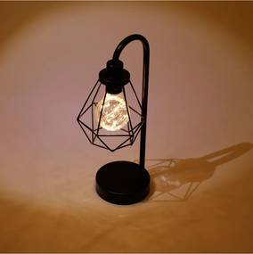 Luminária Aço Plástico Vintage Diamonds Preto 12X10X32 Cm Urban