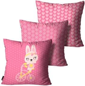 Kit com 3 Almofadas Infantis Coelho Pink35x35cm