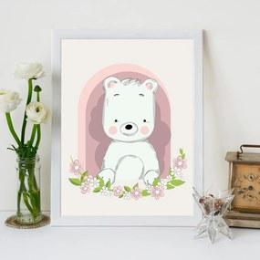 Quadro Decorativo Infantil Urso Baby Branco - 20x25cm
