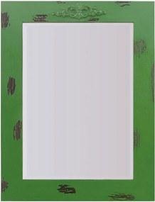 Espelho Decorativo Rústico com Moldura Verde Lixada e Aplique na Parte Superior