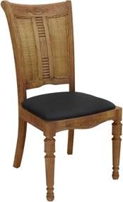 Cadeira em Madeira Estofado em Couro - 95x48x45cm