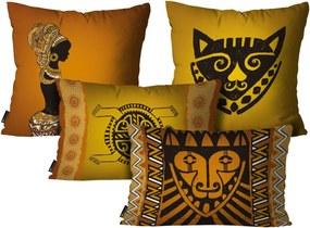 Kit com 4 Capas para Almofadas Mdecore Africanas Colorido Kit 4