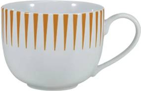 Xícara Chá com Pires 200 ml Porcelana Schmidt - Dec. Sol Laranja