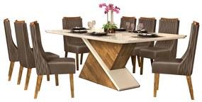 Mesa de Jantar 200X100 cm Mantis D04 com 08 Cadeiras Abu Dabi Tronco Ripado/Creme/Marrom Café - ADJ DECOR