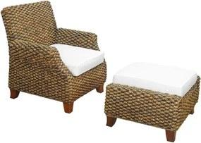 Lounge Chair em Madeira com Revestimento em Rattan