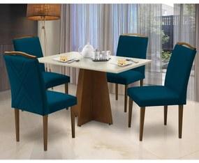 Conjunto Mesa Leticia 1,20 m Off White + 4 Cadeiras Lorena Veludo Azul Marinho