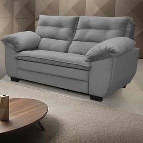 Sofá Macio Com Fibra Premium 1,66mts 2 Lugares Tecido Suede Cinza