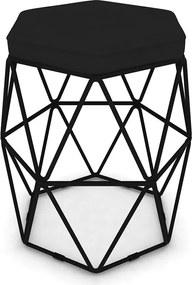 Puff Aramado Hexagonal Base de Ferro Preta Suede Preto - Sheep Estofados - Preto