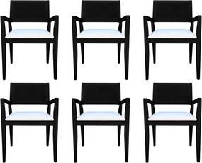 Kit 6 Cadeiras Decorativas Sala de Jantar Megan Preto Linho Bege - Gran Belo