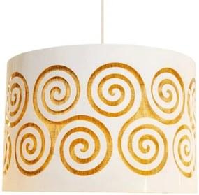 Luminária Pendente Para Sala Redondo | Cúpula de Tecido | Cor: Palha Crua | Tam: 35x20cm | Mod: Spinner