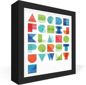 Quadro Adoraria Caixa Frontal alfabeto letras Preto