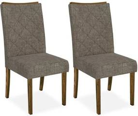 Cadeira Dubai sala de jantar ( kit 2 und ), Padrao - Demolição/Linho Bronze