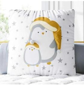 Almofada Quadrada Cinza Família Pinguim Pompom Grã