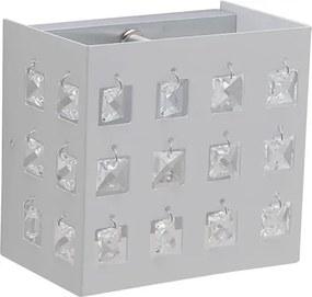 Arandela  Cristal Branca Fosco 14X9cm