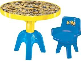 Mesa com Cadeira Líder Minions com Tampa e Divisórias - 2795 - Amarelo