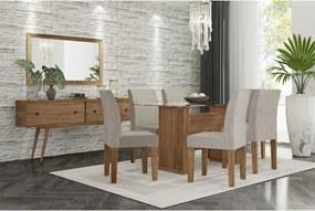 Conjunto Mesa de jantar Zafira com 6 cadeiras Bege RV Móveis