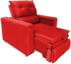 Poltrona Reclinável Retrátil Onix Veludo Vermelho - Sheep Estofados - Vermelho