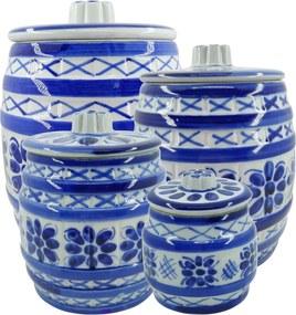 Jogo de Potes em Porcelana Azul Colonial 4 peças