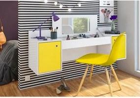 Penteadeira Camarim Atração Branco/Amarelo e Cadeira Charles Amarela - Albatroz