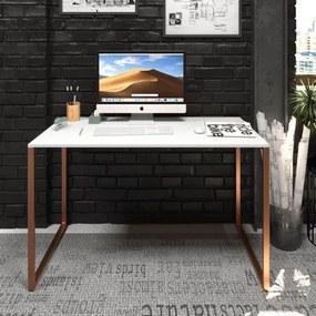 Mesa Para Escritório Diretor Estilo Industrial  Vintage | Tam: 120x60 | Cor: Branco Com Cobre Eco - Mesa Para Escritório Diretor Estilo Industrial Vintage | Tam: 120x60 | Cor: Branco Com Cobre Eco