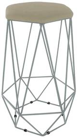 Puff Banqueta Aramado Eiffel Hexágono Prata Assento Nude