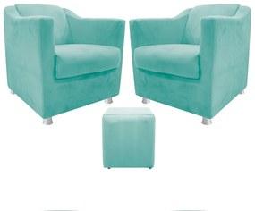 kit 02 Poltronas Tilla e 01 Puff Dado Suede Azul Tiffany - ADJ Decor