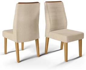 Conjunto 2 Cadeiras Curvata Carvalho Nobre Tecido Linho Saara