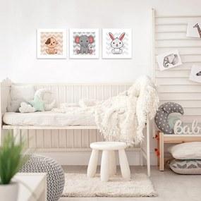 Kit 3 Quadros Decorativos MDF Infantil Cachorro Elefante Coelho Colorido25x25cm