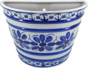 Vaso de Parede em Porcelana Azul Colonial 17 cm (com furo)