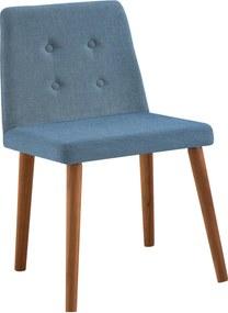 Cadeira Vega Base Gota Madeira Tauari Linho Daf Azul