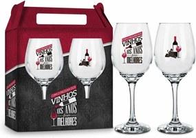 Conjunto 2 taÇas vinho - frases - com o passar dos vinhos