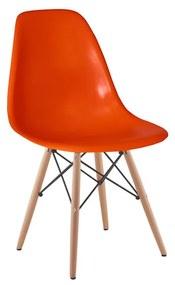 Cadeira Eames Eiffel Base Madeira - Laranja