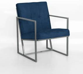 Poltrona Megan Decorativo Base Prata Suede Azul Marinho