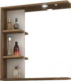 Espelheira p/ Banheiro C/ LED e tecla Lara 60cm MB Bosi Marrom