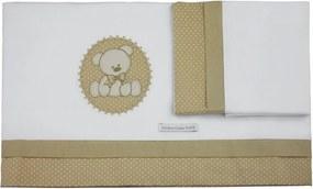 Lençol De Berço 03 Peças Urso Minha Casa Baby Bege