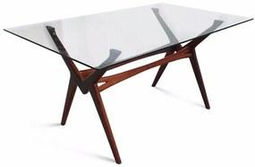 Mesa de Jantar Retrô Tampo de Vidro Madeira Maciça Design Retrô